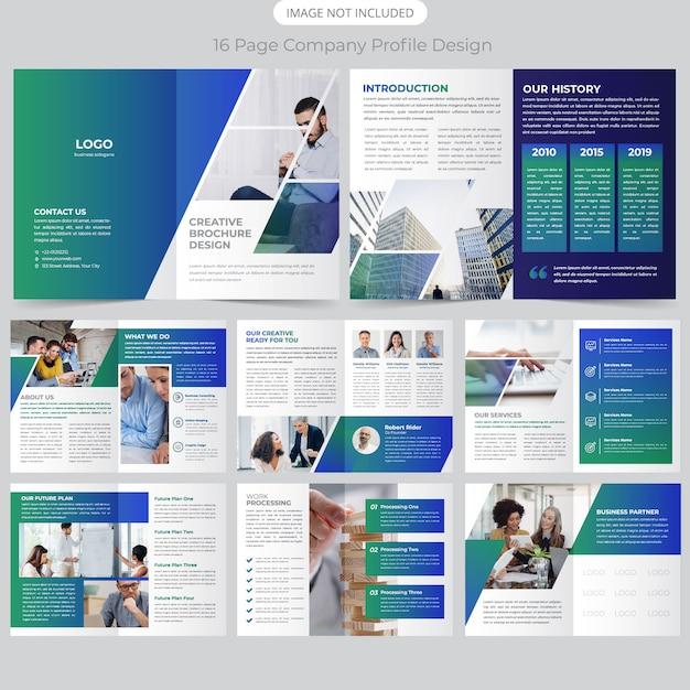 16 Page Projekt Broszury O Profilu Firmy Premium Wektorów