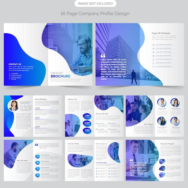 16 Strona Projektowanie Profilu Firmy Premium Wektorów