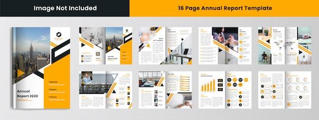 16-stronicowy Szablon Raportu Rocznego W żółtym Kolorze Premium Wektorów