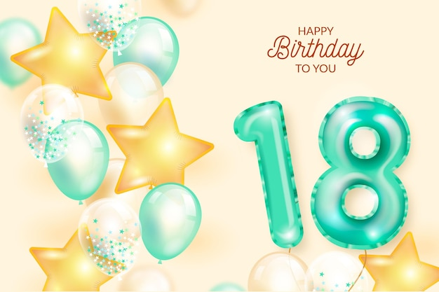 18 Urodziny Szczęśliwy Tło Z Realistycznymi Balonami Premium Wektorów