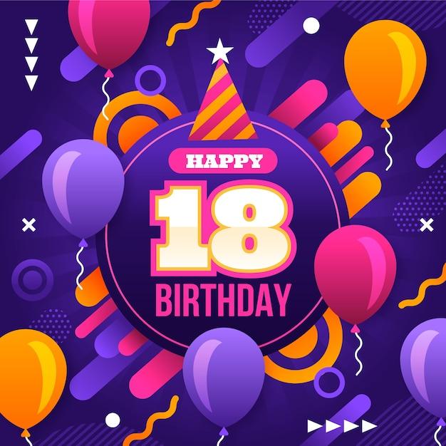 18 Urodziny Z Balonami I Konfetti Darmowych Wektorów