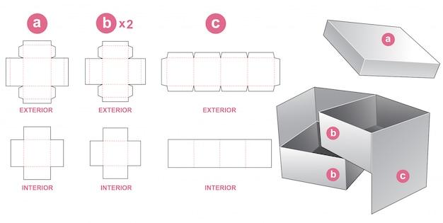 2-poziomowe Pudełko I Szablon Wykrojony Premium Wektorów