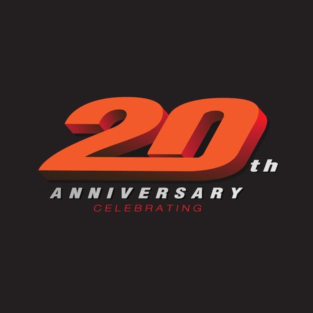 20. Rocznica Obchodzi Czerwony Kolor Logo 3d Premium Wektorów