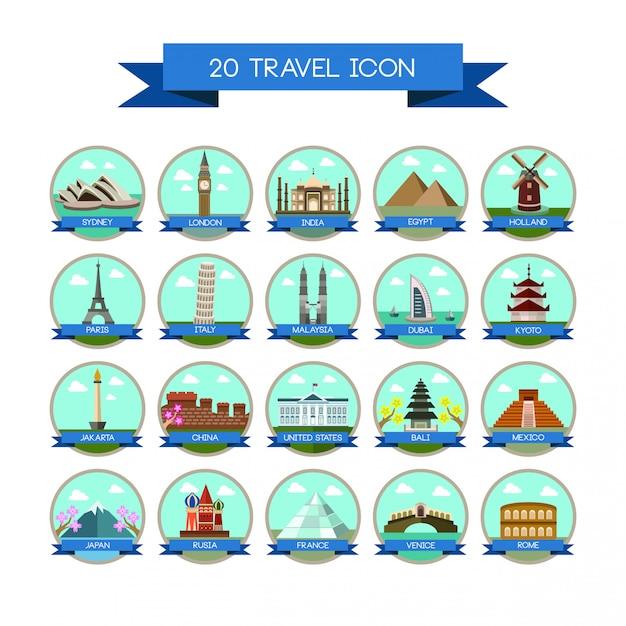 20 znak kraju podróży Premium Wektorów