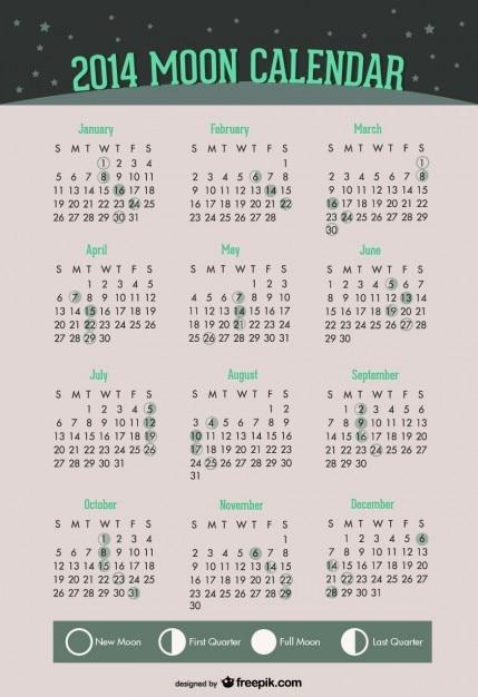 2014 fazami księżyca kalendarz z zielonym wzorem Darmowych Wektorów