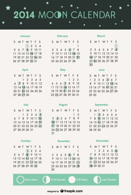 2014 fazami księżyca kalendarz Darmowych Wektorów