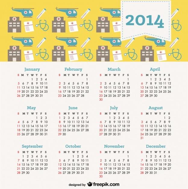 2014 Kalendarz Koncepcja Zdrowia Darmowych Wektorów