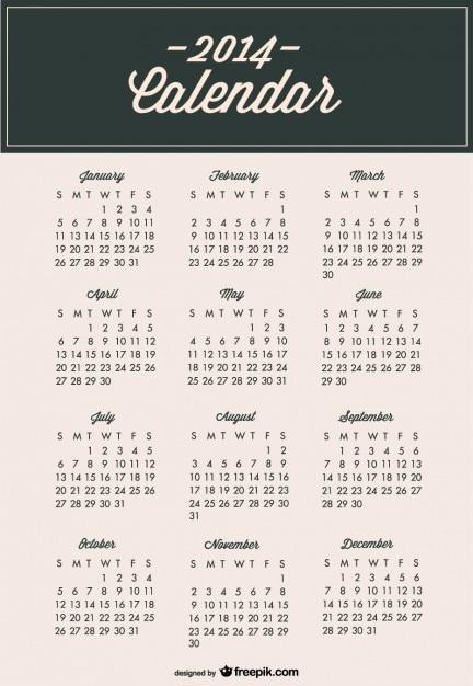 2014 Kalendarz Minimalistyczny Nowoczesny Szablon Darmowych Wektorów