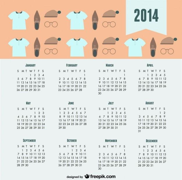 2014 Kalendarz Modny Wygląd Mody Darmowych Wektorów