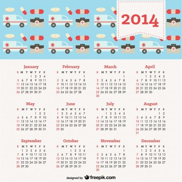 2014 Kalendarz Z Health Concept Darmowych Wektorów