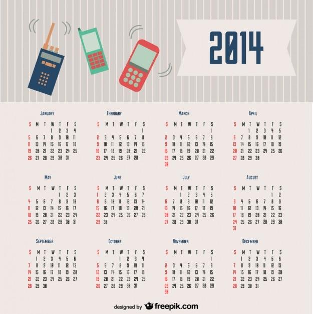 2014 Projekt Kalendarza Komunikacyjne Darmowych Wektorów