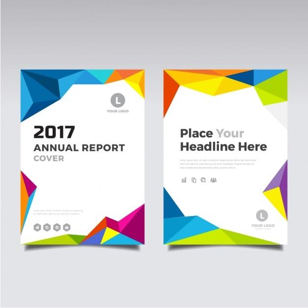 2017 Broszurę Z Pełnym Kolorowych Kształtów Wielobocznych Darmowych Wektorów