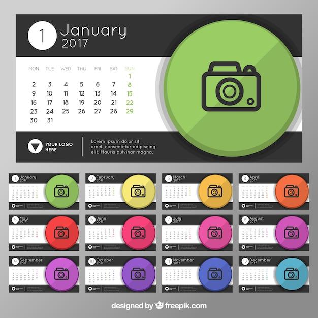 2017 kalendarz z konstrukcji aparatu Darmowych Wektorów