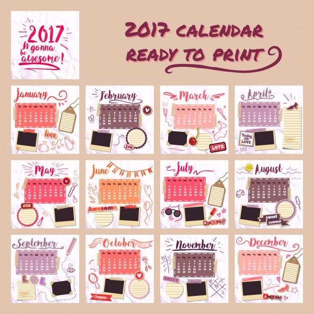 2017 kalendarza dla dziewczynek Darmowych Wektorów
