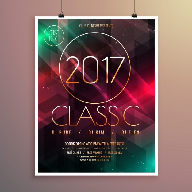 2017 nowy rok szablon ulotki wydarzenie stroną z kolorowych świateł tle Darmowych Wektorów