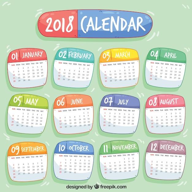 2018 Kalendarz Darmowych Wektorów