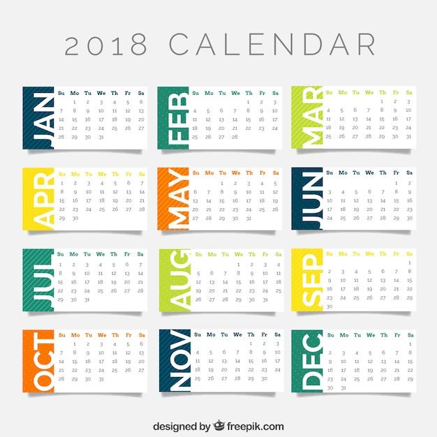 2018 szablon kalendarza Darmowych Wektorów