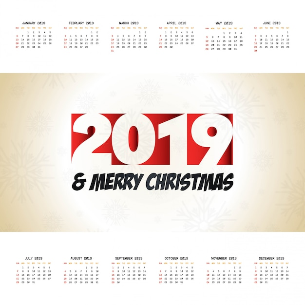 2019 boże narodzenie kalendarz projekt wektor Premium Wektorów