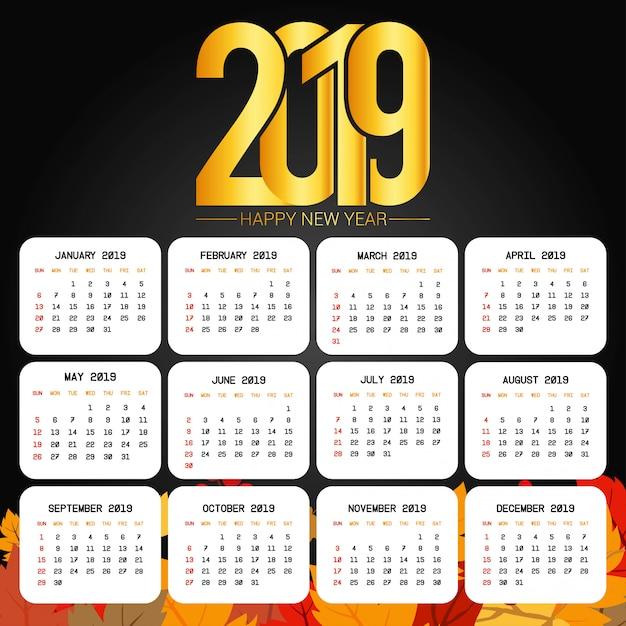 2019 kalendarza projekt z czarnym tło wektorem Darmowych Wektorów