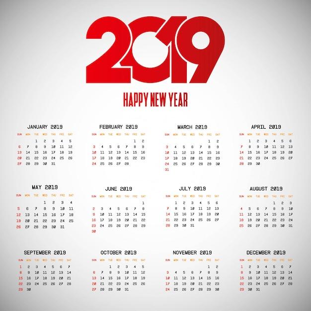 2019 kalendarza projekt z lekkim tło wektorem Darmowych Wektorów