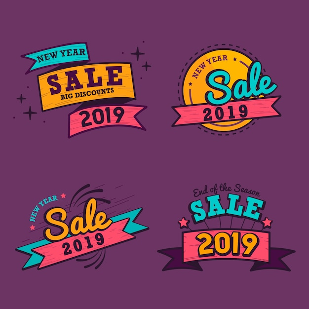 2019 nowy rok sprzedaż odznaka wektor zestaw Darmowych Wektorów