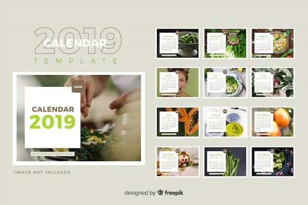 2019 szablon kalendarza Darmowych Wektorów