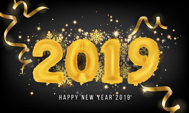 2019 Szczęśliwego Nowego Roku Karty Z Pozdrowieniami Tła Premium Wektorów