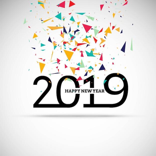 2019 szczęśliwego nowego roku teksta kolorowy błyszczący tło Darmowych Wektorów