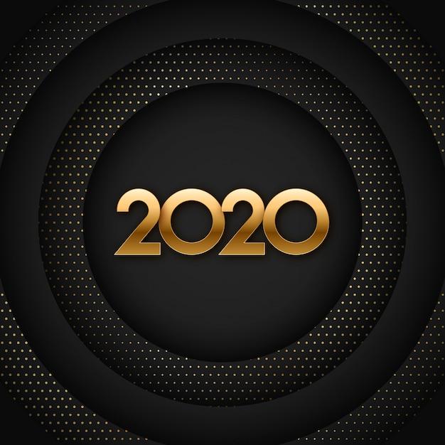 2020 czarny i złoty nowy rok ilustracji Premium Wektorów
