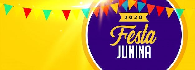 2020 Festa Junina Celebracja Transparent Z Miejsca Na Tekst Darmowych Wektorów