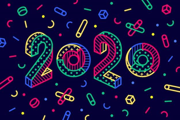 2020, Kartkę Z życzeniami Szczęśliwego Nowego Roku Premium Wektorów