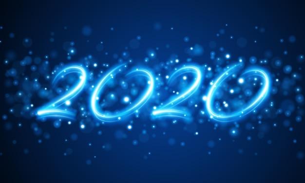 2020 nowy rok literowania abstrakcjonistyczna wakacyjna wiadomość i rozjarzony bokeh zaświecamy ilustrację Premium Wektorów