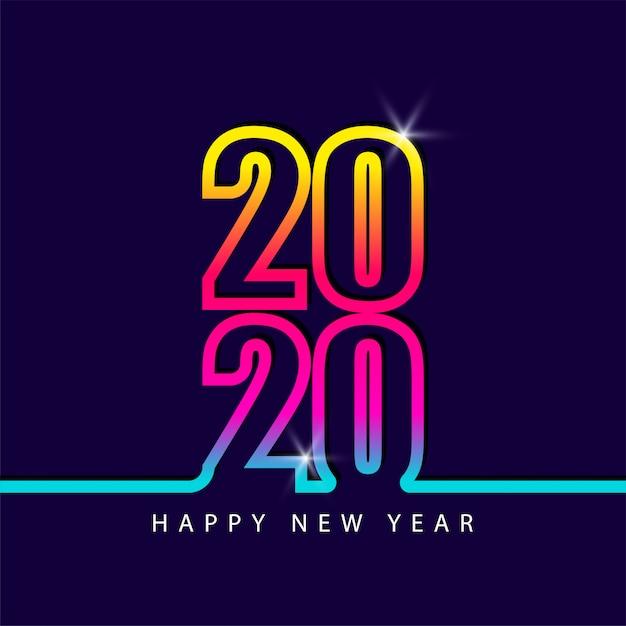 2020 numer nowy rok kolorowa tęcza kolor Premium Wektorów
