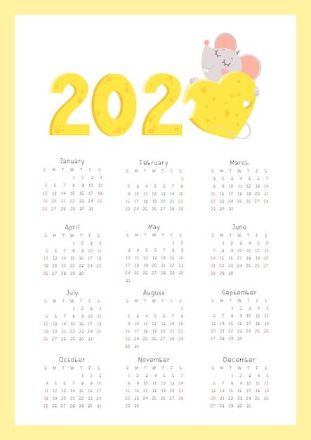 2020 Płaskie Wektor Kalendarz Pionowe Strony Premium Wektorów