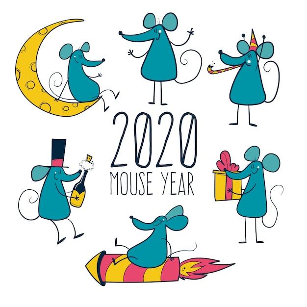 2020 Rok Myszy. Ręcznie Rysowana Kolekcja Myszy Premium Wektorów