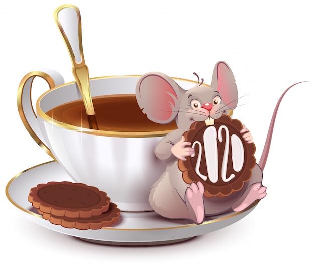 2020 rok szczurów według chińskiego kalendarza. śliczna mysz siedzi przy filiżance kawy i zjada ciasteczko Premium Wektorów