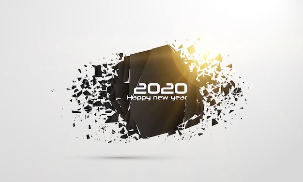 2020 szczęśliwego nowego roku. geometryczne banery Premium Wektorów
