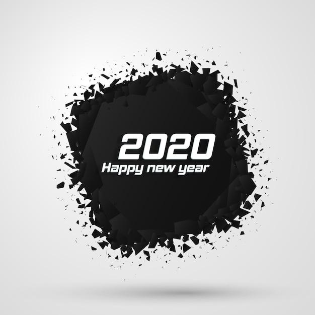 2020 szczęśliwego nowego roku. geometryczne kształty zniszczenia. Premium Wektorów