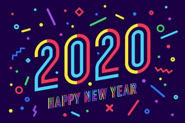 2020, Szczęśliwego Nowego Roku. Kartkę Z życzeniami Szczęśliwego Nowego Roku Premium Wektorów