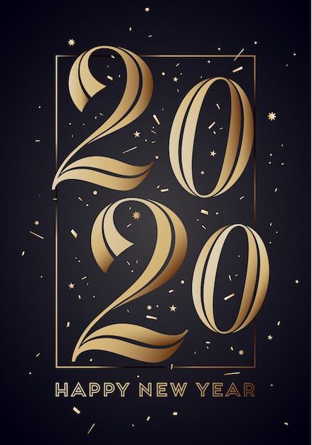 2020. Szczęśliwego Nowego Roku Kartkę Z życzeniami Z Napisem Premium Wektorów