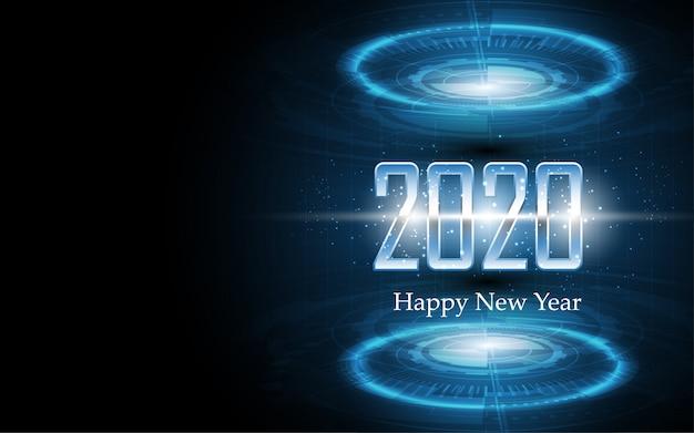 2020 Szczęśliwego Nowego Roku Na Temat Technologii Streszczenie Kartkę Z życzeniami Premium Wektorów