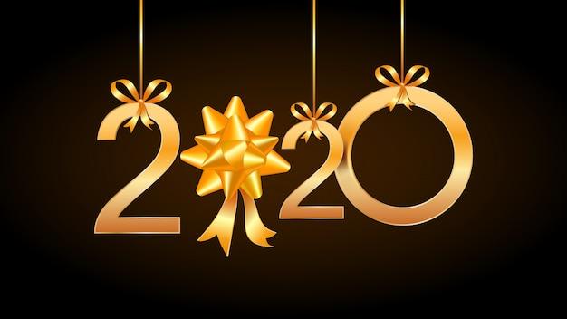 2020 szczęśliwego nowego roku rocznika karta z wiszącymi złotymi liczbami i tasiemkowym prezenta łękiem. Premium Wektorów