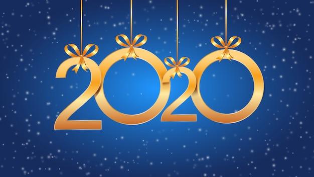 2020 Szczęśliwego Nowego Roku Z Wiszącymi Złotymi Cyframi, Kokardkami I śniegiem Na Niebiesko Premium Wektorów