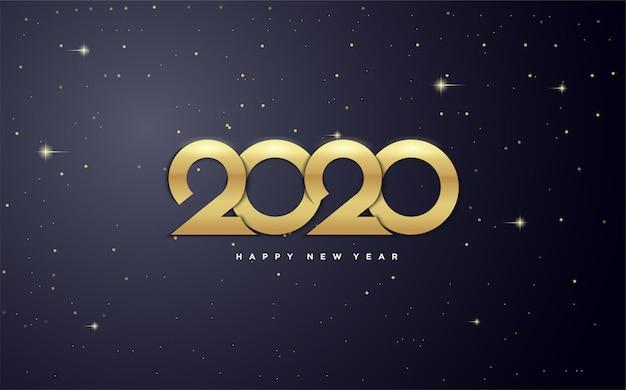2020 Szczęśliwego Nowego Roku Ze Złotymi Postaciami W Galaktyce. Premium Wektorów