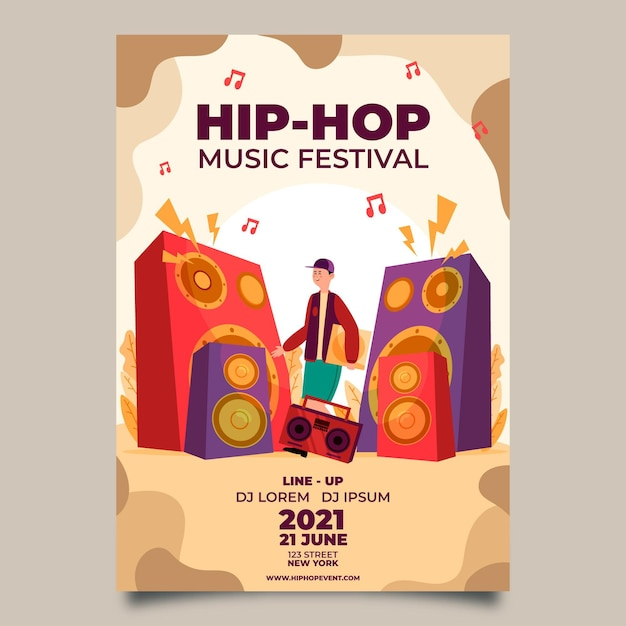 2021 Ilustrowany Plakat Festiwalu Muzycznego Darmowych Wektorów