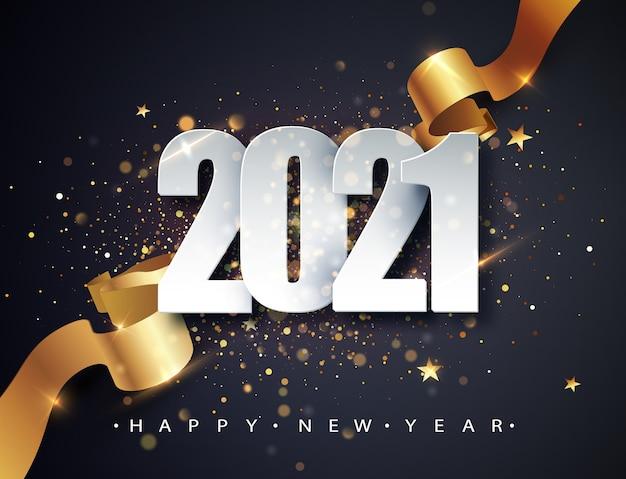 2021 Szczęśliwego Nowego Roku Tło Wektor Ze Złotą Wstążką Prezent, Konfetti, Białe Cyfry. Darmowych Wektorów