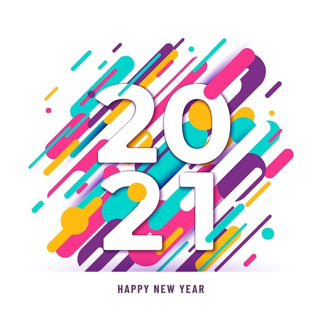 2021 Szczęśliwego Nowego Roku Tło Z Dużymi Liczbami I Abstrakcyjnymi Liniami Darmowych Wektorów