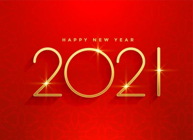 2021 Złoty Szczęśliwego Nowego Roku Czerwone Tło Projekt Darmowych Wektorów