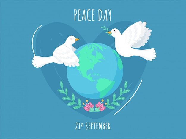 21 Września Plakat Dzień Pokoju Z Kulą Ziemską, Kwiatowy I Latające Gołębie Na Niebieskim Tle. Premium Wektorów