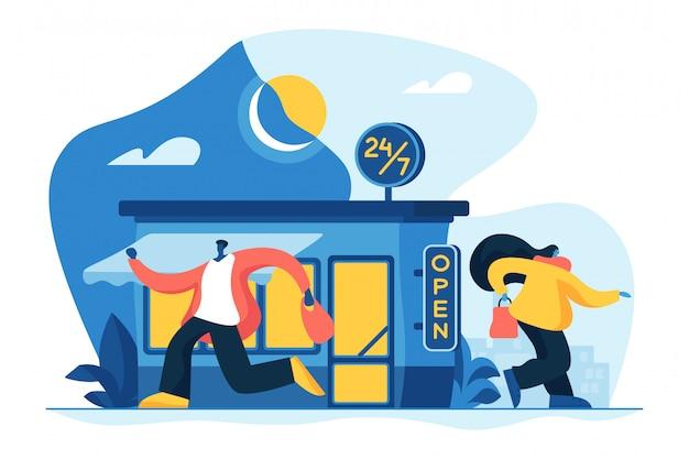 24 7 Ilustracji Wektorowych Koncepcja Usługi. Premium Wektorów